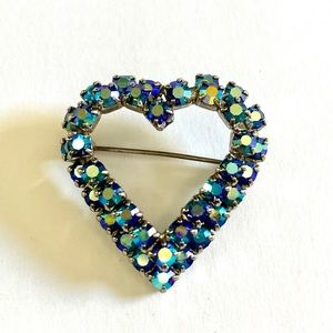 Vtg Blue Aurora Borealis Rhinestone Heart Brooch